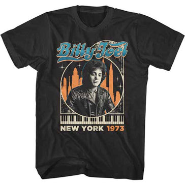 Billy Joel - In The City - NYC 1973 - Black  t-shirt