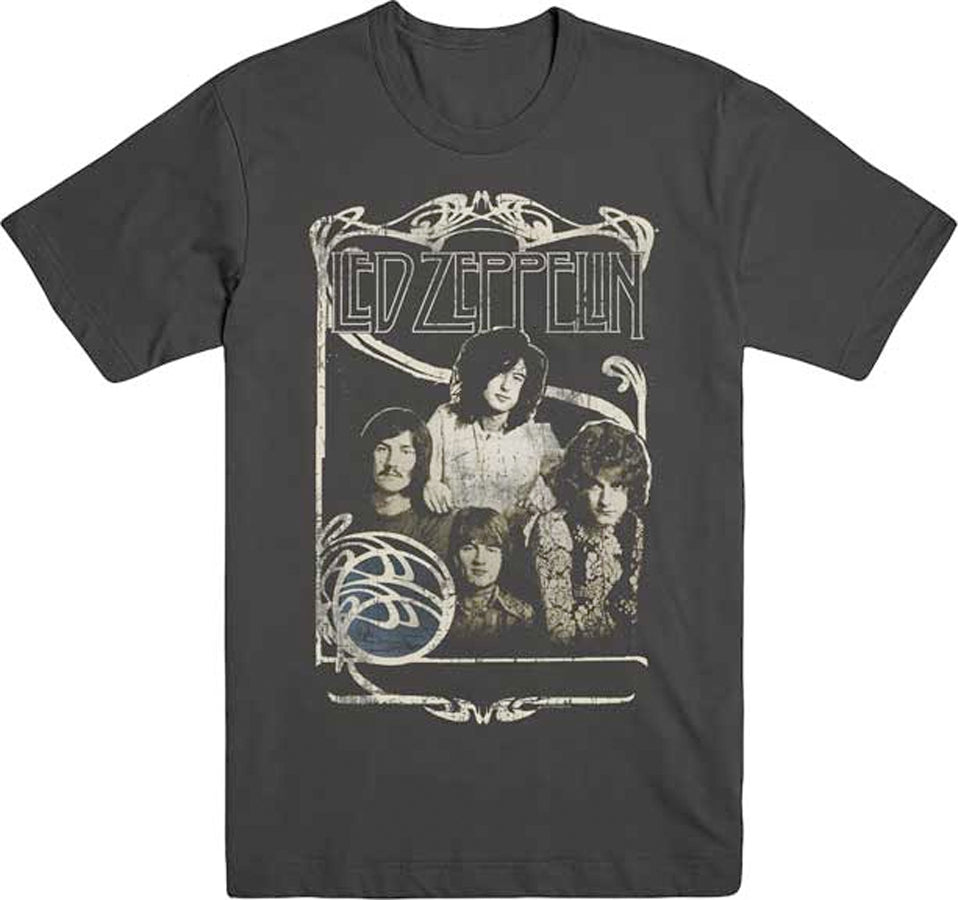 Led Zeppelin -  1969 Band Promo Photo - Black T-shirt