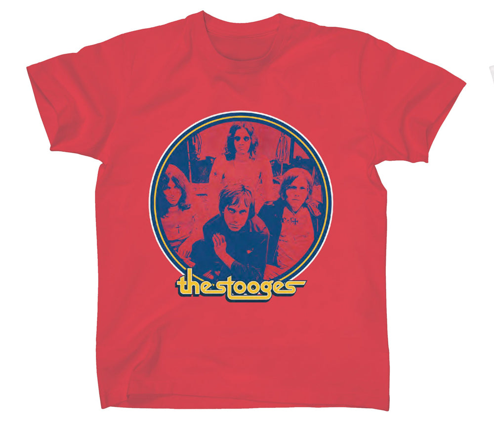Iggy Pop - The Stooges-Band Circle - Red  t-shirt