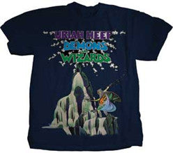Uriah Heep Demons and Wizards on navy t-shirt