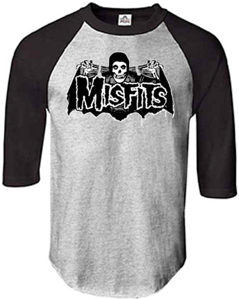 Misfits - Batfiend - Grey and Black Raglan Baseball Jersey t-shirt