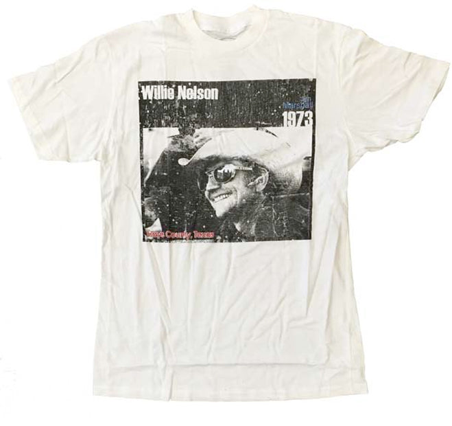 Willie Nelson-Cowboy 1973-Jim Marshall Photography Design-White Lightweight T-shirt