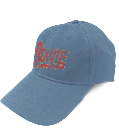 David Bowie - Distressed Flash Logo - OSFA Snapback Denim Blue Baseball Cap