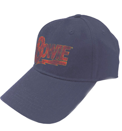 David Bowie - Distressed Flash Logo - OSFA Snapback Navy Blue Baseball Cap