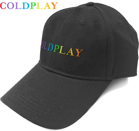 Coldplay - Rainbow Logo - Black OSFA Baseball Cap