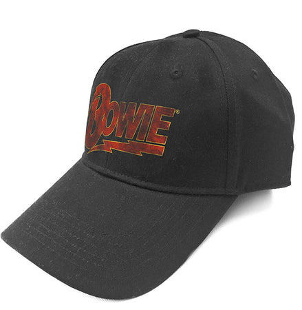David Bowie - Distressed Flash Logo - Black Baseball Cap