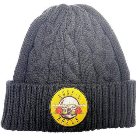 Guns N Roses  - Cable Knit Wool Circle Logo - Black Ski Cap Beanie
