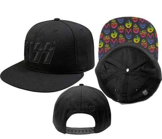 Kiss - Neon Faces-Snapback - Black OSFA Baseball Cap