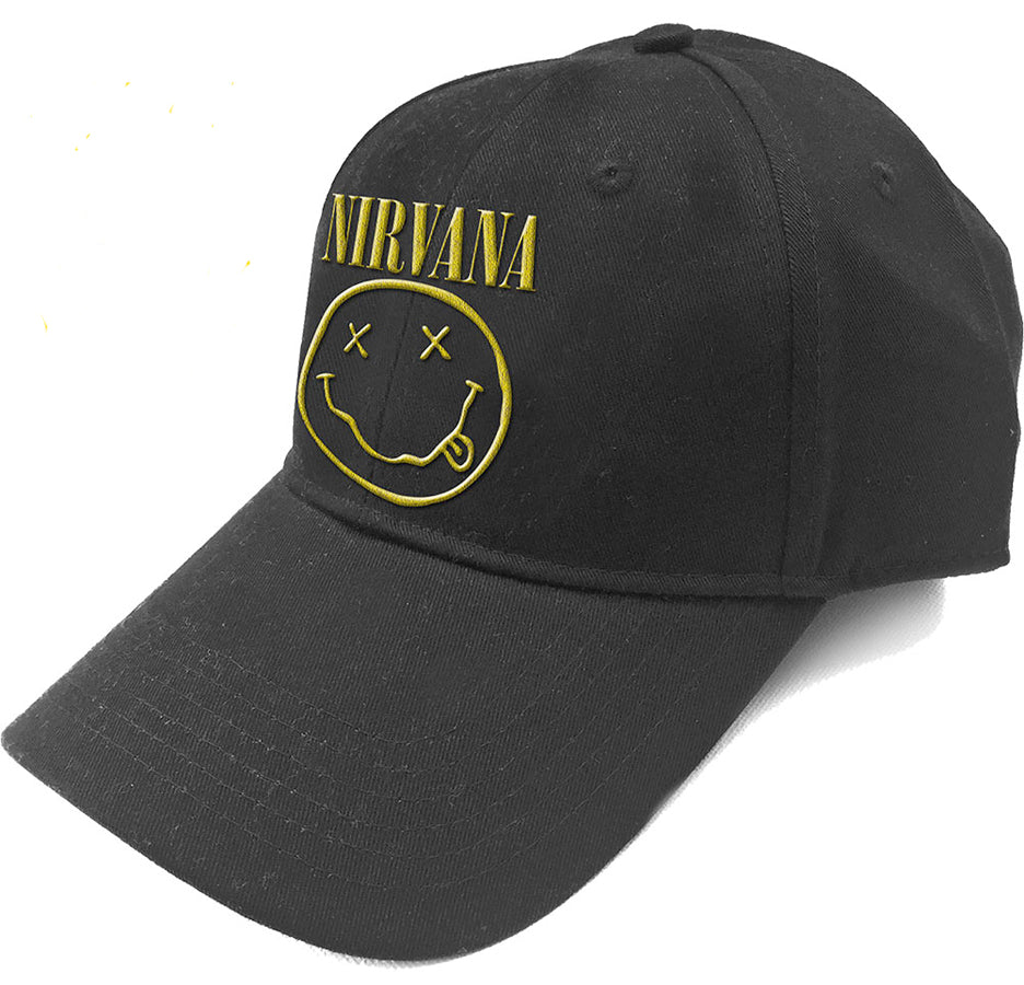 Nirvana - Logo and Smiley - Black OSFA Baseball Cap