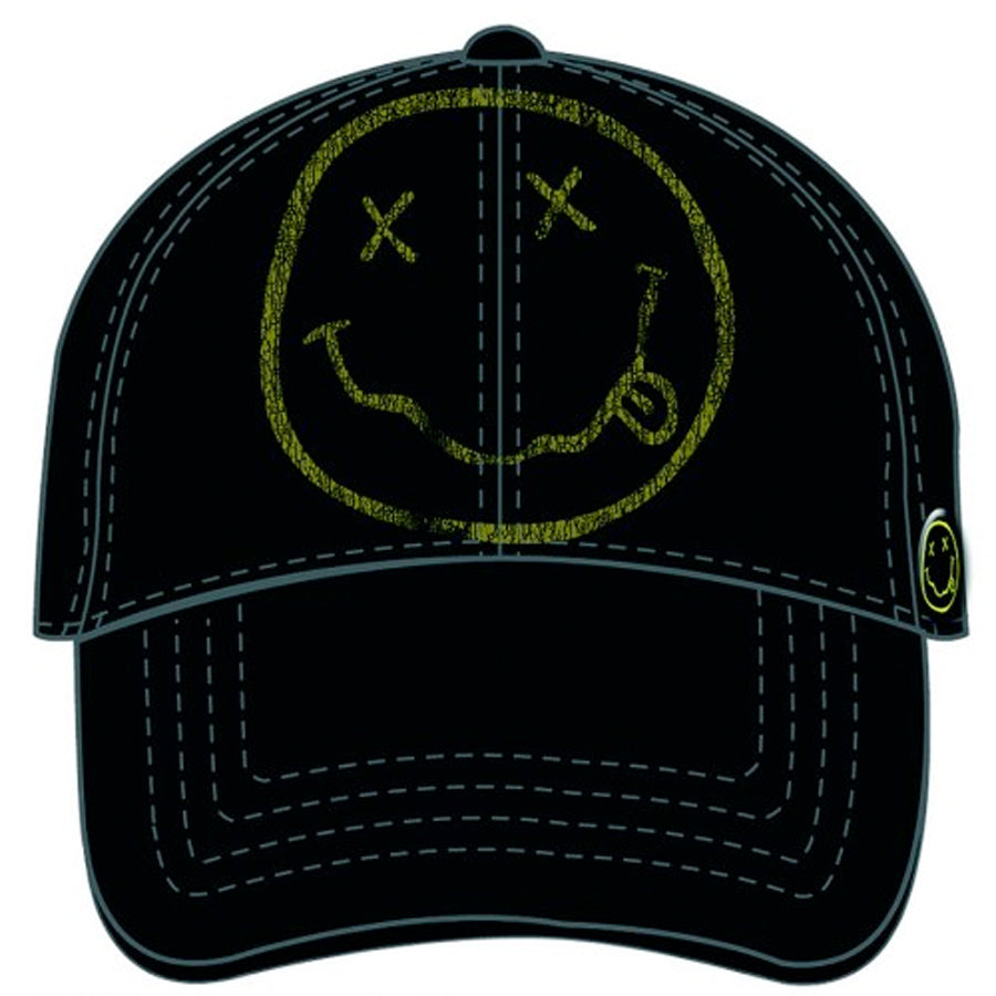 Nirvana - Kurt Cobain - Big Smiley Logo - Black OSFA Baseball Cap