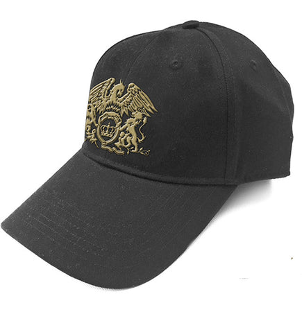 Queen - Gold Classic Crest Logo - Black Baseball Cap