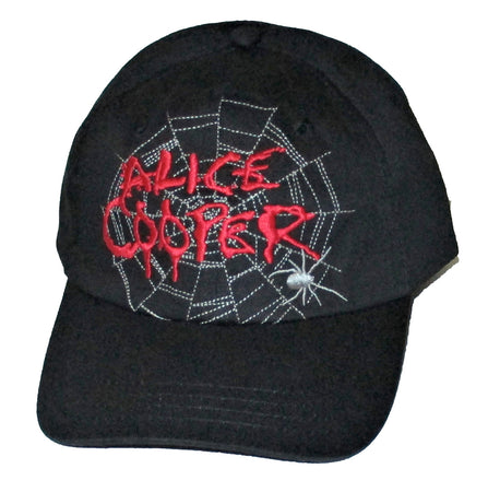 Alice Cooper - Spider Web Logo - Black Baseball Cap