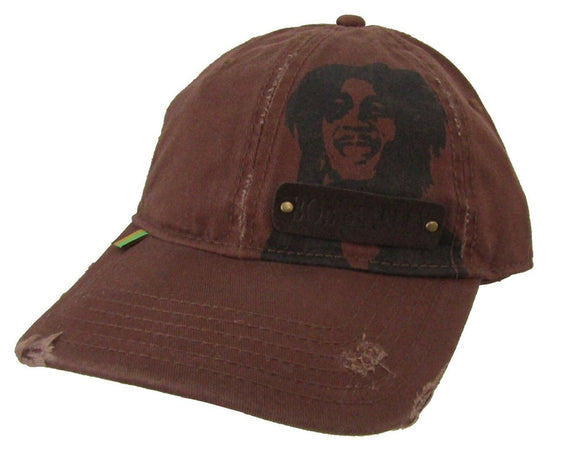 Bob Marley-Distressed Rough Edge-Rasta-Brown OSFA Baseball Cap
