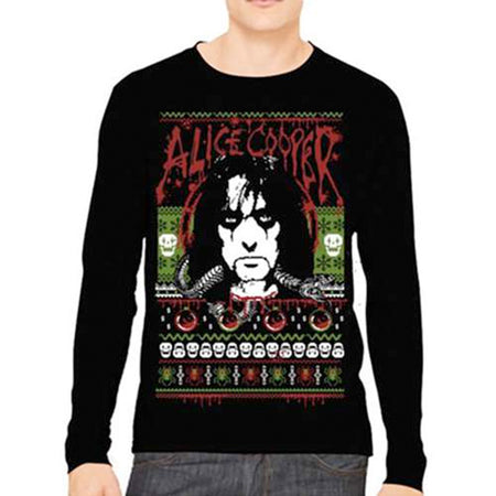Alice Cooper - Holiday -Ugly Christmas Sweater Style Sweatshirt
