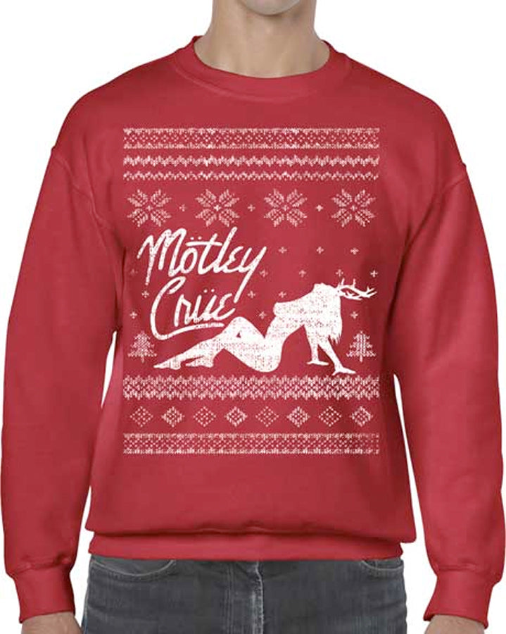 Motley Crue - Winter Themed - Red Crew Sweatshirt