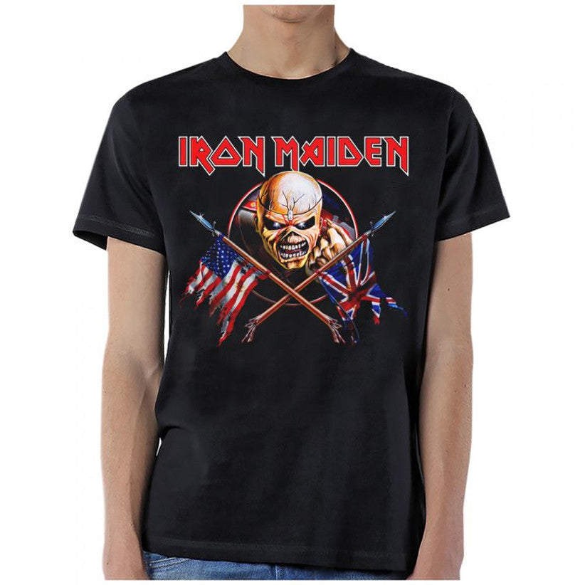 Iron Maiden-Crossed Flags-Black T-shirt