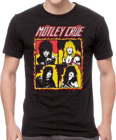 Motley Crue - Band in Squares - Black t-shirt