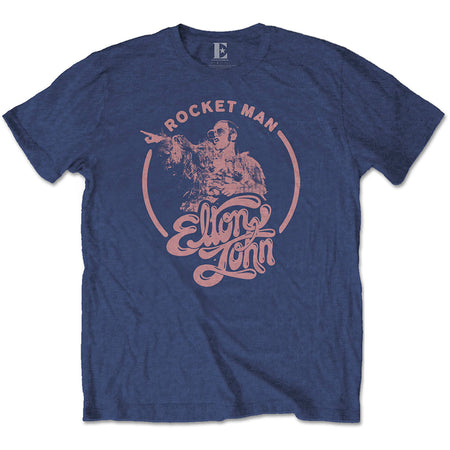 Elton John - Rocketman Circle Point - Navy Blue t-shirt
