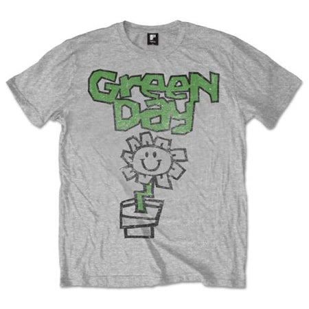 Green Day. - Flower Pot - Grey  T-shirt