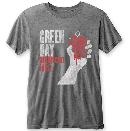 Green Day. - American Idiot - Charcoal Grey Burn Out T-shirt