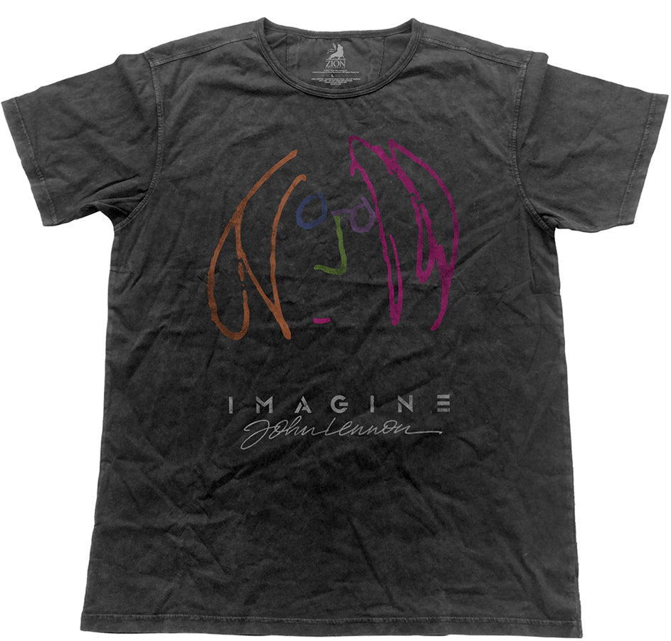 John Lennon - Vintage Imagine Self Portrait - Black Label Designer Black t-shirt