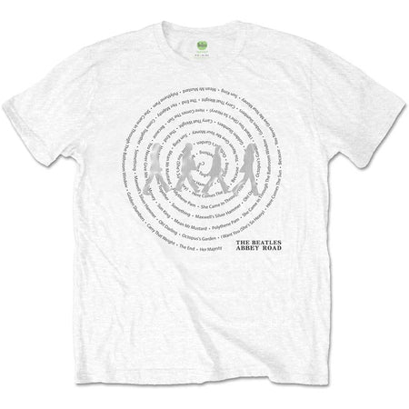 The Beatles - Abbey Road Song Swirls-Metallic Silver figures - White t-shirt