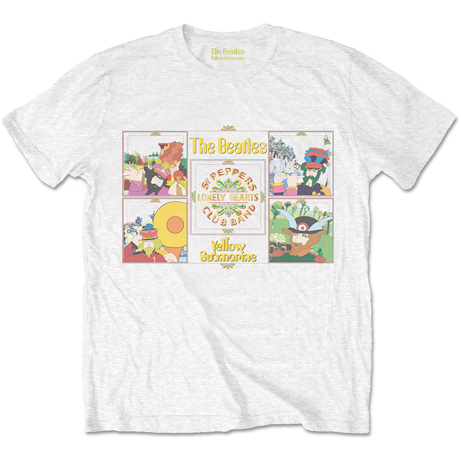 The Beatles - Yellow Submarine-Sgt Pepper Band - White t-shirt