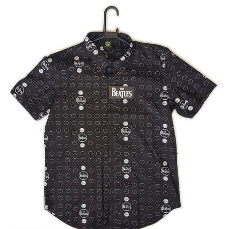 The Beatles - Drums and Apples - Black Casual Button Down Shirt