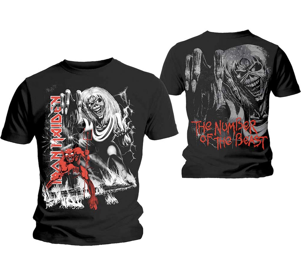 Iron Maiden - Number Of The Beast-Jumbo print wirth back print - Black T-shirt