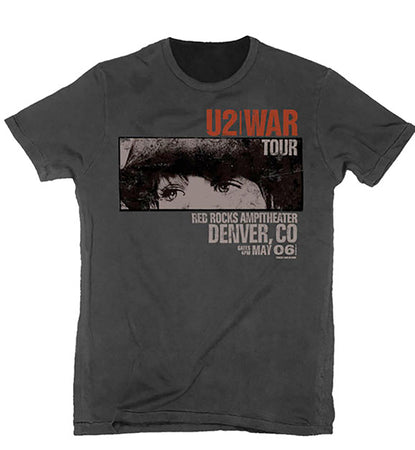 U2 - Red Rocks-War Tour - Vintage  Black T-shirt