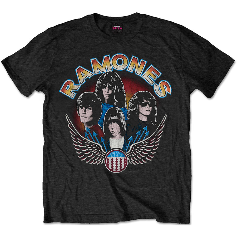 The Ramones - Vintage Wings Photo - Black  T-shirt