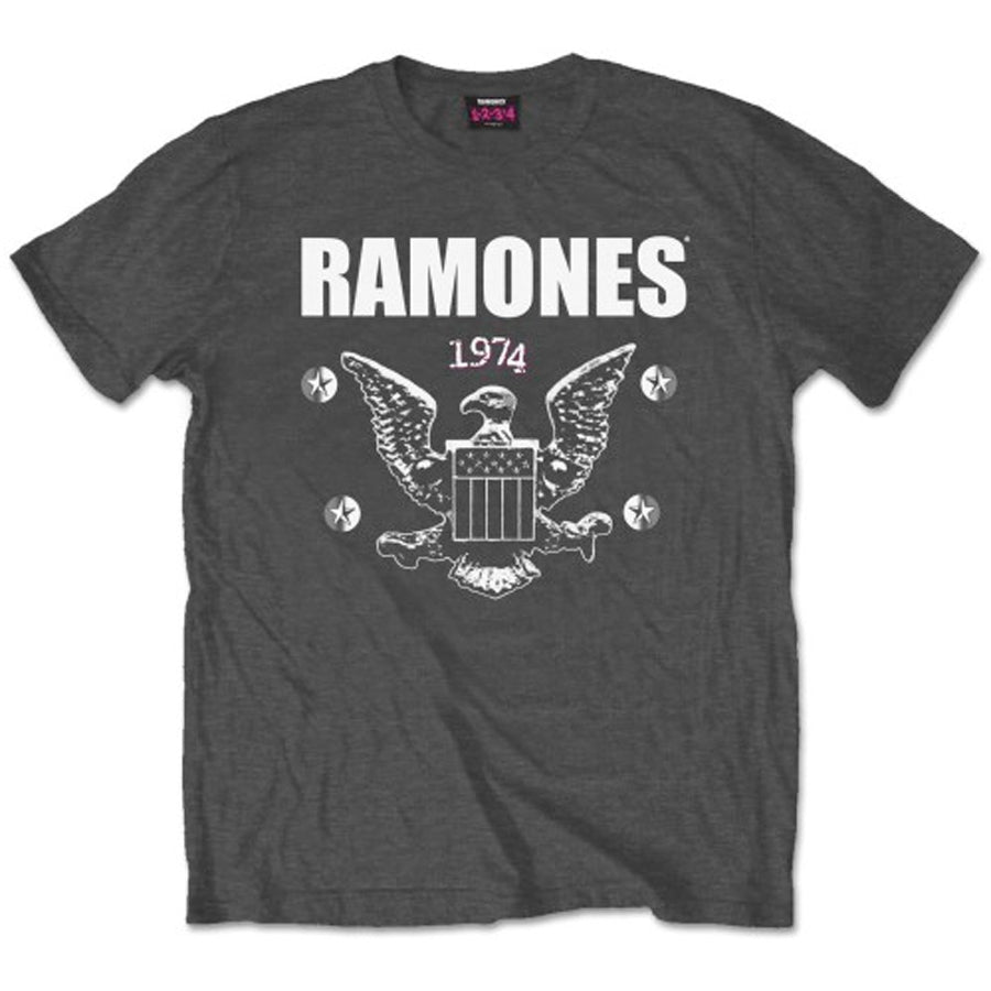 The Ramones - 1974 Eagle - Charcoal Grey  T-shirt