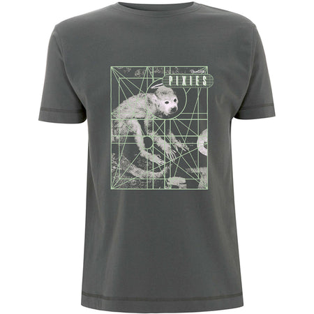 Pixies - Monkey Grid - Charcoal Grey t-shirt
