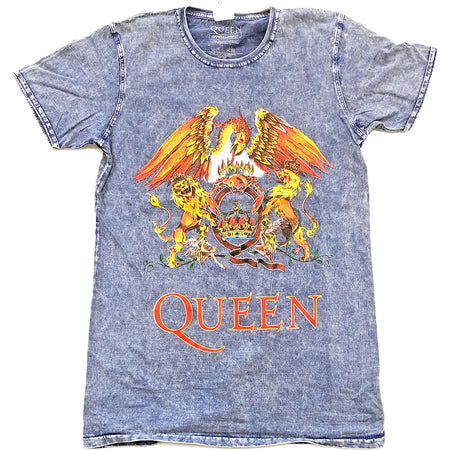 Queen - Classic Crest-Burn Out Treated Denim Blue t-shirt