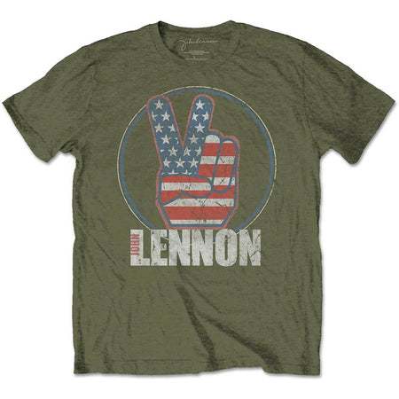 John Lennon - Peace Fingers US Flag - Military Green T-shirt
