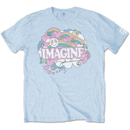 John Lennon - Rainbows, Love & Peace - Light Blue T-shirt
