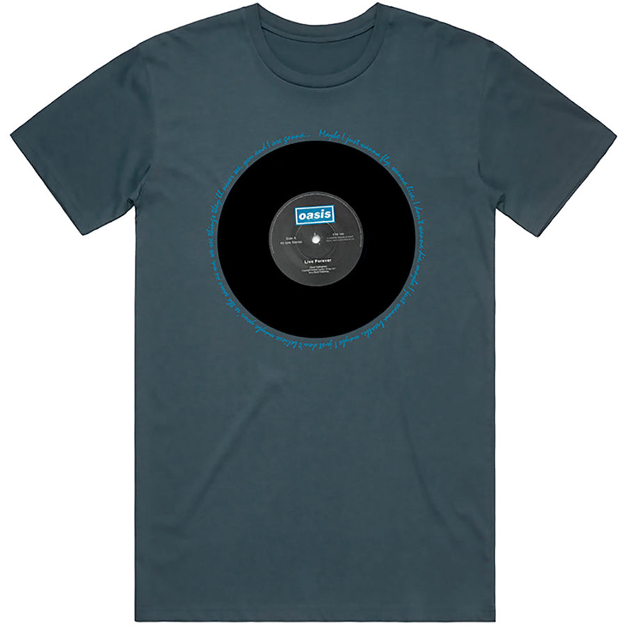 Oasis - Live Forever Single - Denim Blue t-shirt