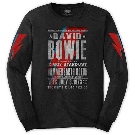 David Bowie - Hammersmith Odeon - Longsleeve Black t-shirt