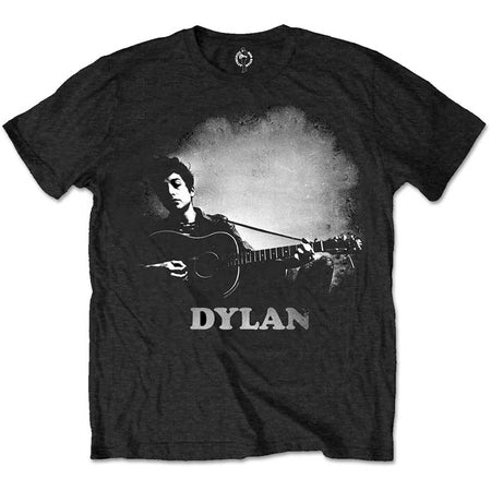 Bob Dylan - Guitar & Logo - Black  T-shirt