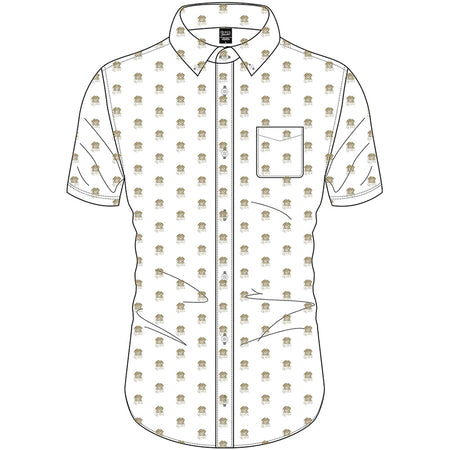 Queen - Crest Pattern Logo - Casual Button Down White Shirt