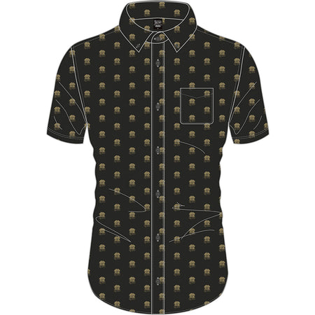 Queen - Crest Pattern Logo - Casual Button Down Black Shirt