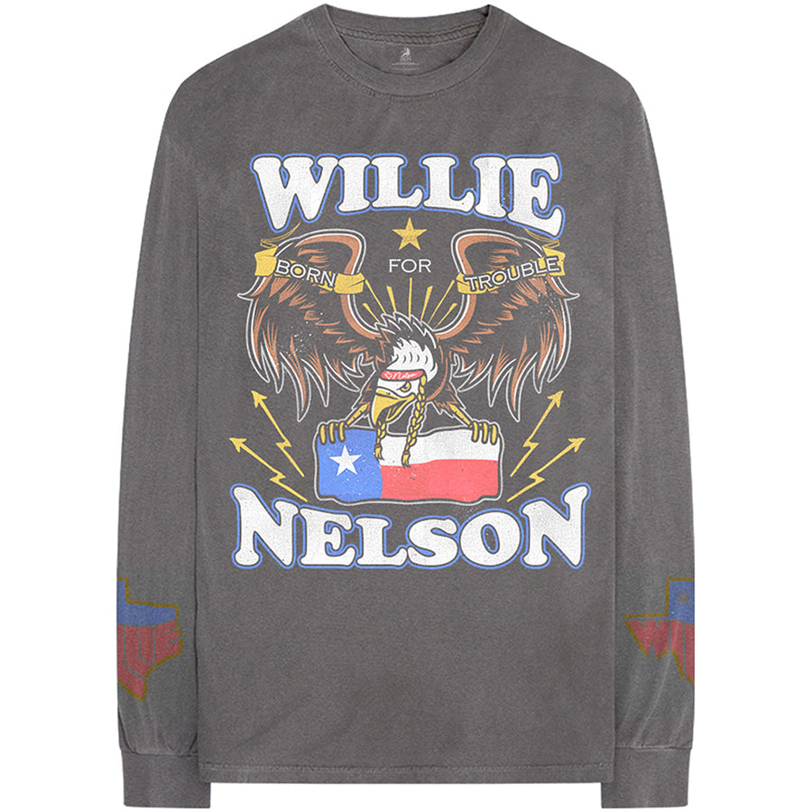 Willie Nelson - Texas Pride - Longsleeve Charcoal Grey  T-shirt