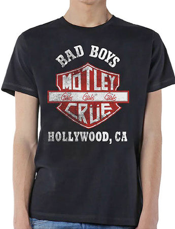 Motley Crue - Bad Boys Shield - Black t-shirt