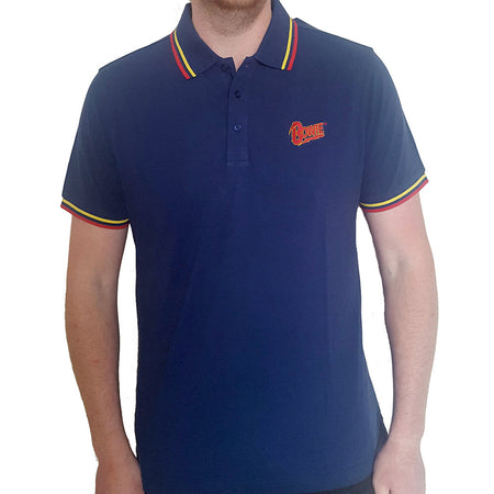 David Bowie - Embroidered Flash Logo - Navy Blue Polo Shirt