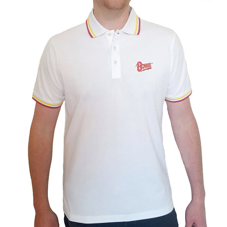 David Bowie - Embroidered Flash Logo - White Polo Shirt