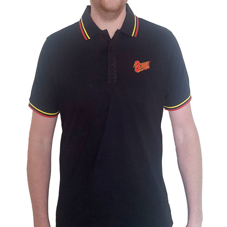 David Bowie - Embroidered Flash Logo - Black Polo Shirt