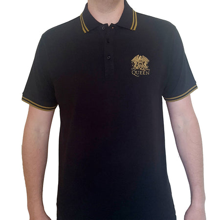 Queen - Embroidered Crest Logo - Black Polo Shirt