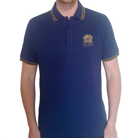 Queen - Embroidered Crest Logo - Navy Blue Polo Shirt