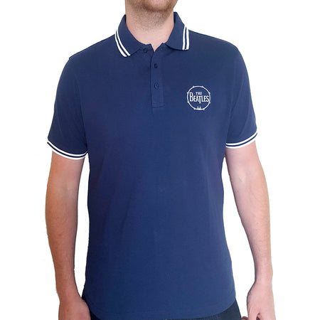 The Beatles - Embroidered Drum Logo - Navy Blue Polo Shirt