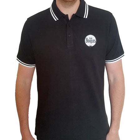 The Beatles - Embroidered Drum Logo - Black Polo Shirt